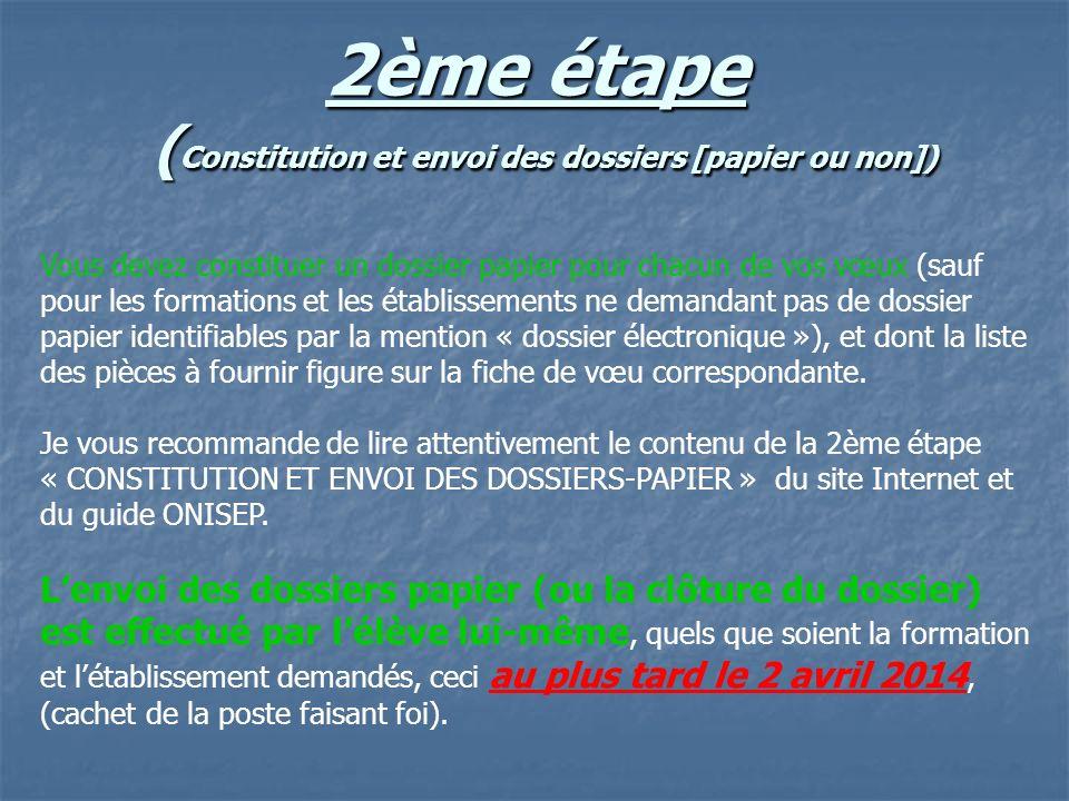 2ème étape (Constitution et envoi des dossiers [papier ou non])